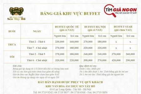 Bảng giá Buffet Sen Tây Hồ cho 3 khu vực Quốc Tế, Hà Nội, Star